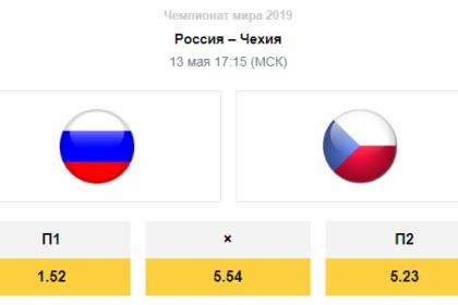 Прогноз на матч ЧМ 2019 (13 мая 2019): Россия – Чехия
