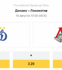 Прогноз на матч РПЛ — Динамо – Локомотив 18 августа
